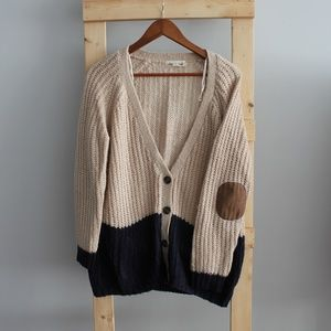 Olive & Oak Color Block Cardigan w/ Elbow Patches